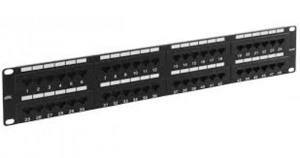 Patch panel 19''/1U sa 48RJ-45 UTP cat.6, dual Krone LSA&110 IDC